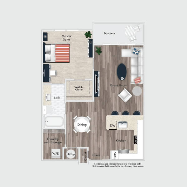 A1 floor plan, 2 bed, 1 bath