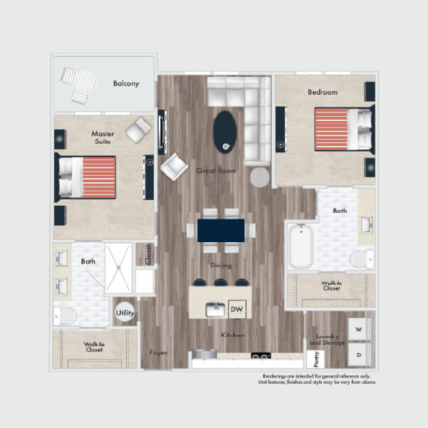 B1 Standard floor plan, 2 beds, 2 baths
