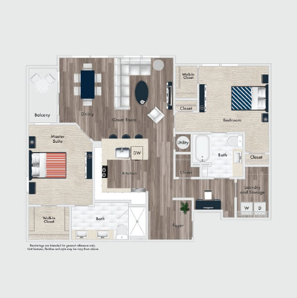 B2 floor plan, 2 beds, 2 baths