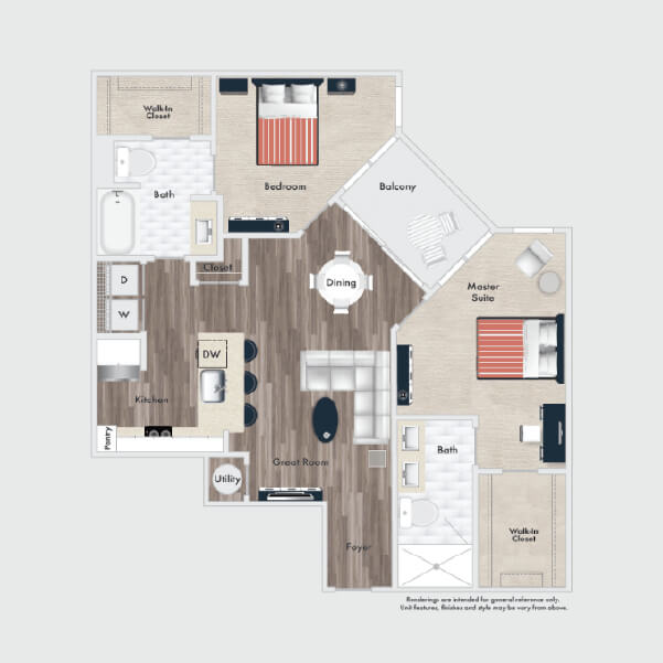B2A floor plan, 2 beds, 2 baths