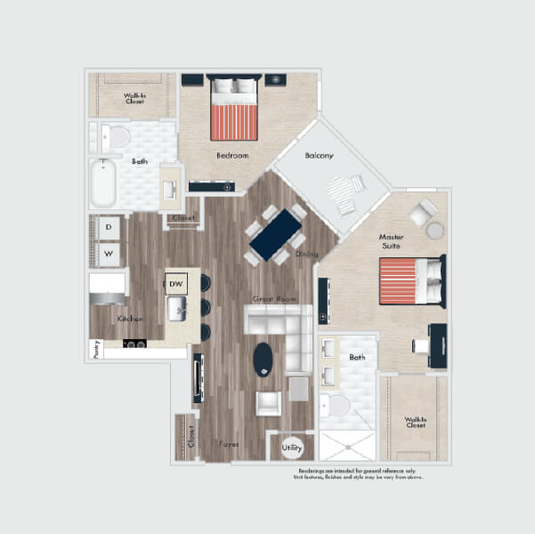 B3 floor plan, 2 beds, 2 baths