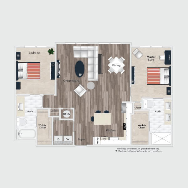 B4 floor plan, 2 beds, 2 baths