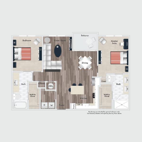 B4 Standard floor plan, 2 beds, 2 baths