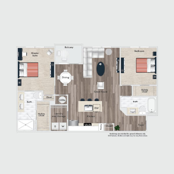 B5 floor plan, 2 beds, 2 baths