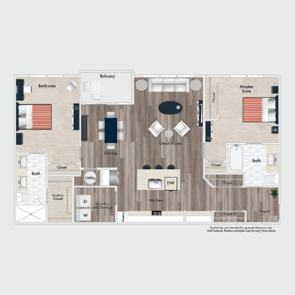 B6 floor plan, 2 beds, 2 baths