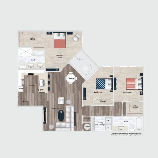 C1 floor plan, 3 beds, 2 baths